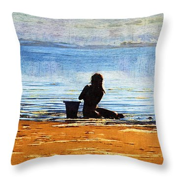 Beach Baby Blue Throw Pillow