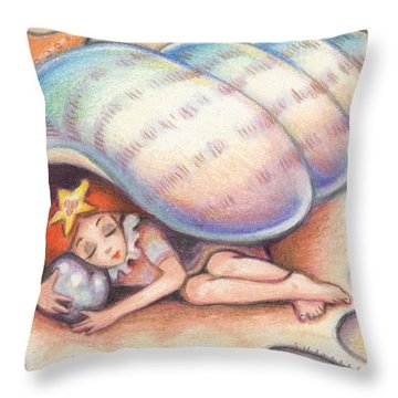 Beach Babys Treasure Throw Pillow by Amy S Turner