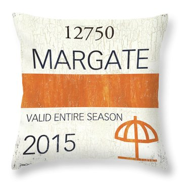 Beach Badge Margate Throw Pillow