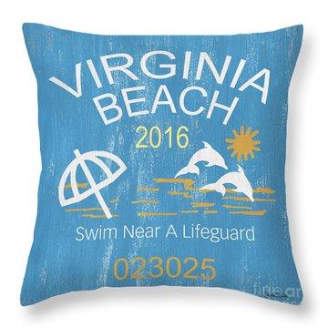 Beach Badge Virginia Beach Throw Pillow
