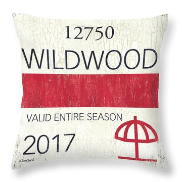 Beach Badge Wildwood 2 Throw Pillow