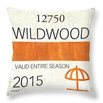 Beach Badge Wildwood Throw Pillow