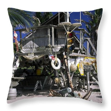 Beach Bar Throw Pillow by Sally Weigand