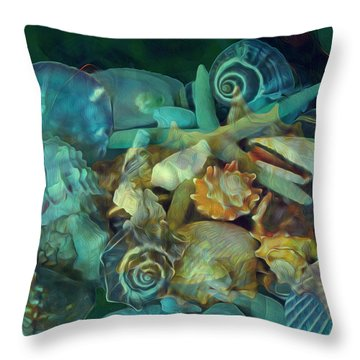 Throw Pillow featuring the mixed media Beach Beauty 10  by Lynda Lehmann
