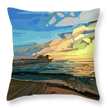 Beach Throw Pillow by Bekim Art