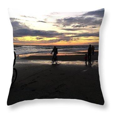 Beach Bikers Throw Pillow