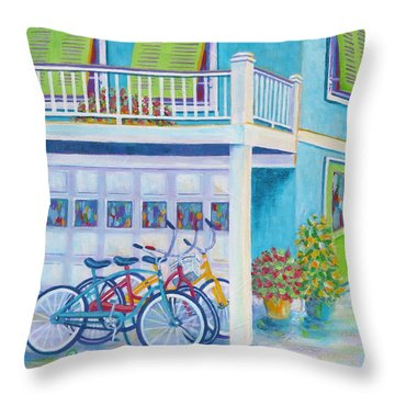 Beach Bikes Throw Pillow