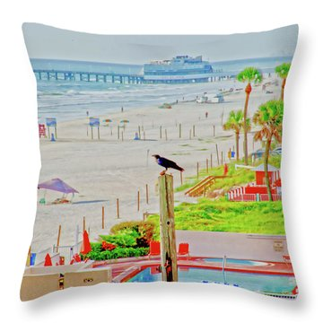Beach Bird On A Pole Throw Pillow