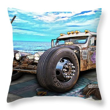 Beach Blanket Rat Rod Throw Pillow