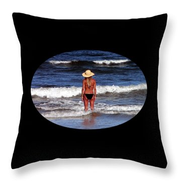 Throw Pillow featuring the photograph Beach Blonde .png by Al Powell Photography USA