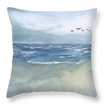 Beach Blue Throw Pillow by Frank Bright