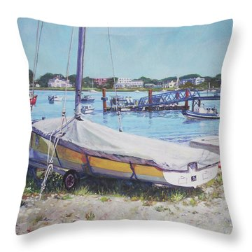 Beach Boat Under Cover Throw Pillow
