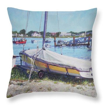 Throw Pillow featuring the painting Beach Boat Under Cover by Martin Davey