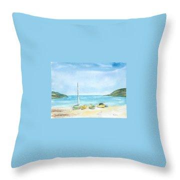 Beach Boats Throw Pillow