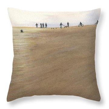 Beach Bocce Bikes Throw Pillow