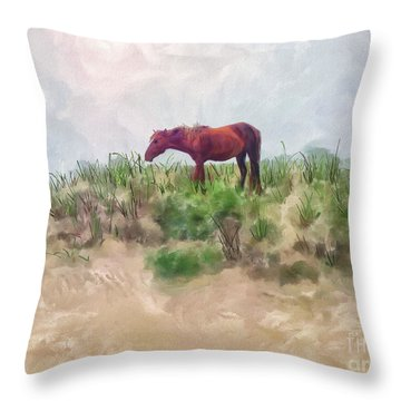 Throw Pillow featuring the digital art Beach Boy by Lois Bryan