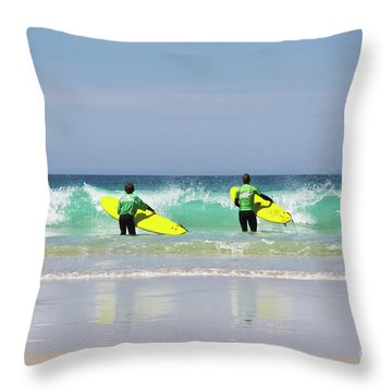 Throw Pillow featuring the photograph Beach Boys Go Surfing by Terri Waters