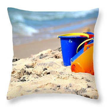 Throw Pillow featuring the photograph Beach Buckets by SimplyCMB