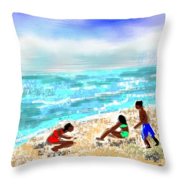 Beach Buddies  Throw Pillow by Elaine Lanoue
