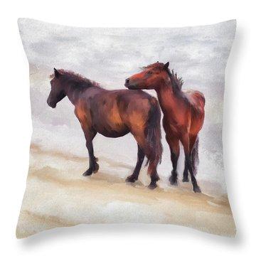 Throw Pillow featuring the photograph Beach Buddies by Lois Bryan