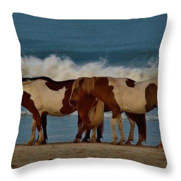 Beach Bum Ponies Throw Pillow