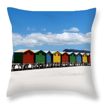 Beach Cabins  Throw Pillow by Fabrizio Troiani
