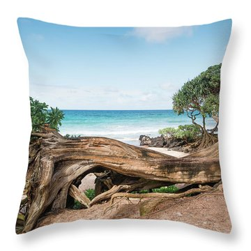 Beach Camping Throw Pillow