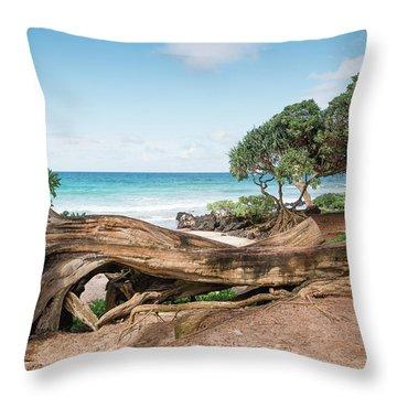 Beach Camping Throw Pillow