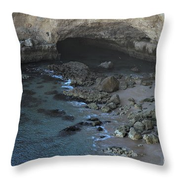 Beach Cave From The Cliffs In Malhada Do Baraco Throw Pillow