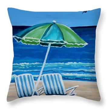 Beach Chair Bliss Throw Pillow by Elizabeth Robinette Tyndall
