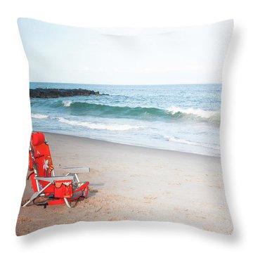 Throw Pillow featuring the photograph Beach Chair By The Sea by Ann Murphy