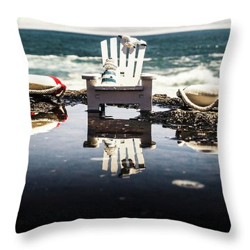 Beach Chairs And Rock Pools Throw Pillow