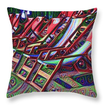Beach Chairs Throw Pillow by Bill Cannon