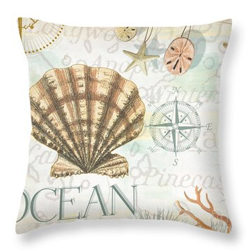 Beach Collage B Throw Pillow by Grace Pullen