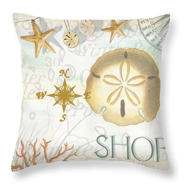 Beach Collage D Throw Pillow by Grace Pullen