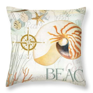 Beach Collage Throw Pillow by Grace Pullen