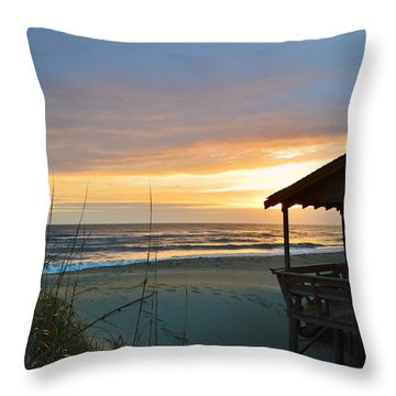Beach Cottage Sunrise  Throw Pillow