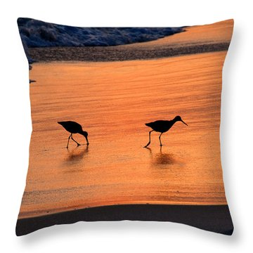 Beach Couple Throw Pillow by David Lee Thompson