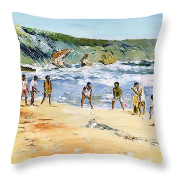 Beach Cricket Throw Pillow