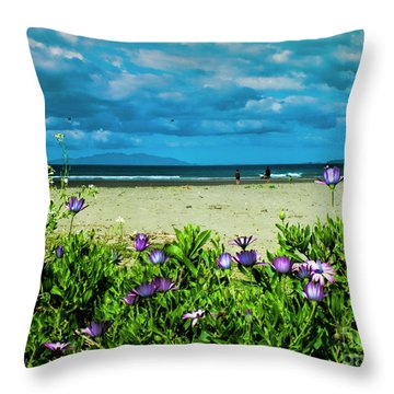 Beach Daisies Throw Pillow by Karen Lewis