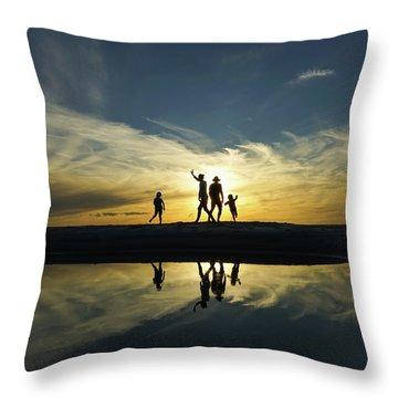 Beach Dancing At Sunset Throw Pillow