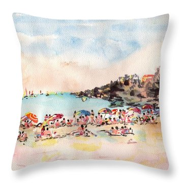 Beach Day At Puerto Vallarta Throw Pillow