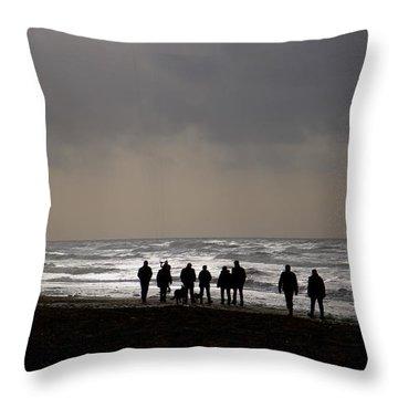 Beach Day Silhouette Throw Pillow