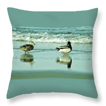 Beach Ducks Throw Pillow