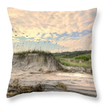 Beach Dunes And Gulls Throw Pillow by Kathy Baccari