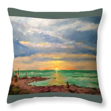 Beach End Of Day Throw Pillow