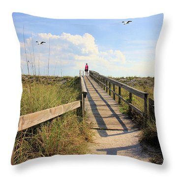 Beach Entrance Throw Pillow by Rosalie Scanlon