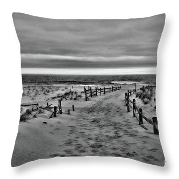 Beach Entry In Black And White Throw Pillow by Paul Ward