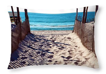 Beach Entry Throw Pillow by John Rizzuto