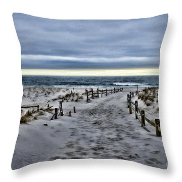 Beach Entry Throw Pillow by Paul Ward